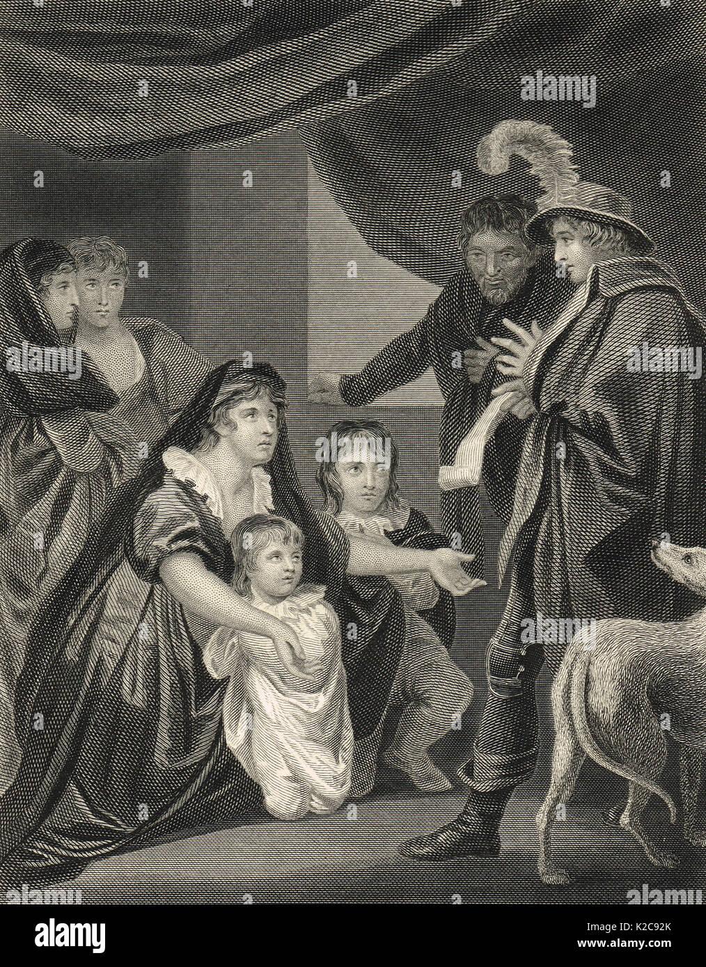 Lady Elizabeth Grey entreating Edward IV - Stock Image