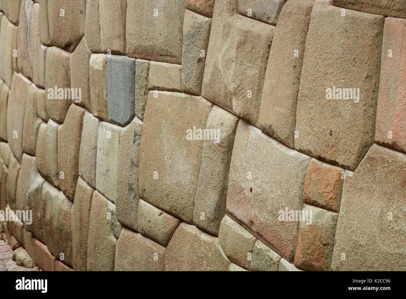 Historic Inca stonework, Inca Roca, Cusco, Peru, South America - Stock Image