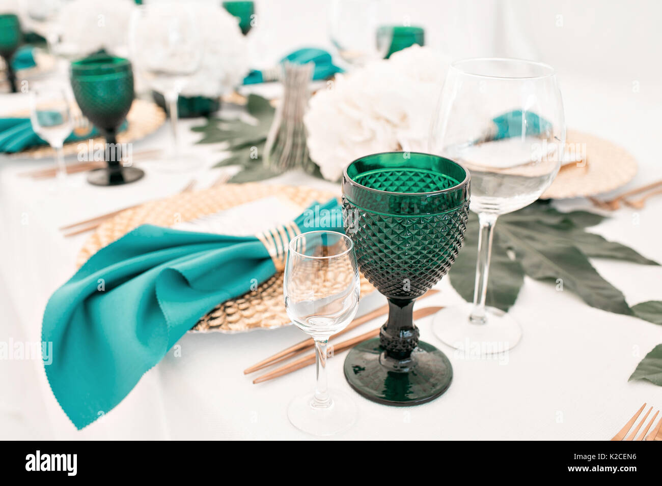 Beautifully organized event - served festive tables ready for guests - Stock Image