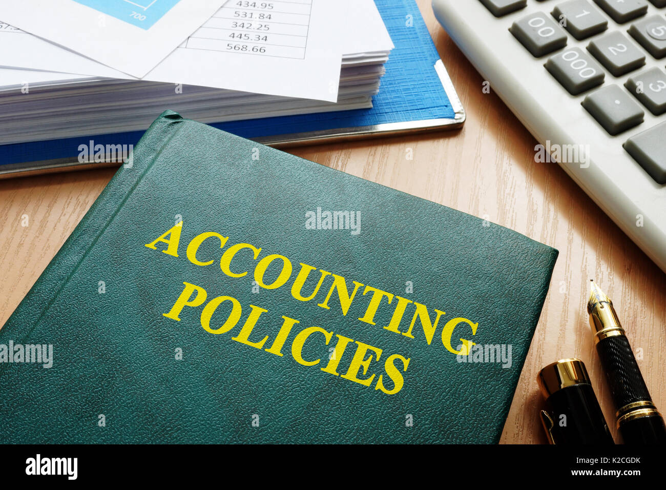 Book with title accounting policies on a table. - Stock Image
