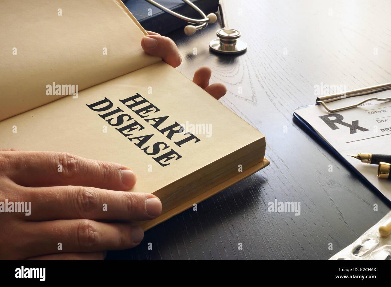Heart disease written in a book. - Stock Image