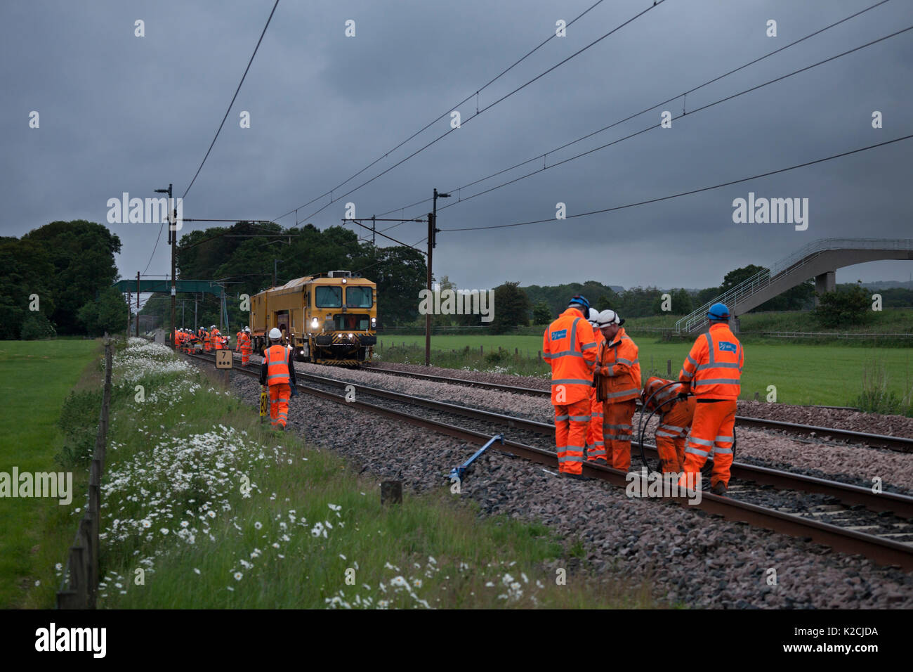 Track renewal taking place at  Brock (north of Preston) on the West coast main line - Stock Image