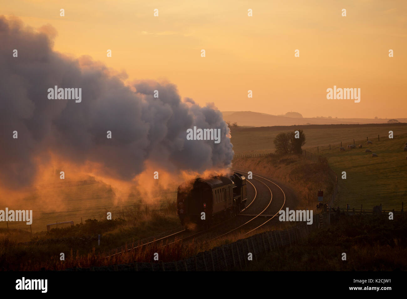 Steam engine 45690 Leander	passing Clapham (Yorkshire) running from Carnforth-Hellifield to work a Leicester - Carlisle special  from Hellifield - Stock Image