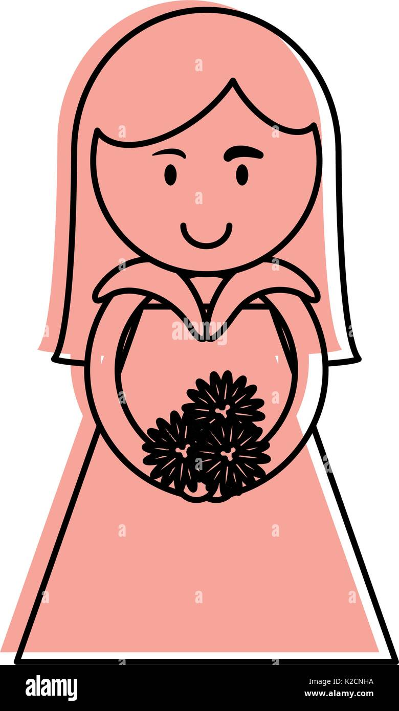 Cute woman holding flower bouquet cartoon icon image vector stock cute woman holding flower bouquet cartoon icon image vector illustration design pink color izmirmasajfo