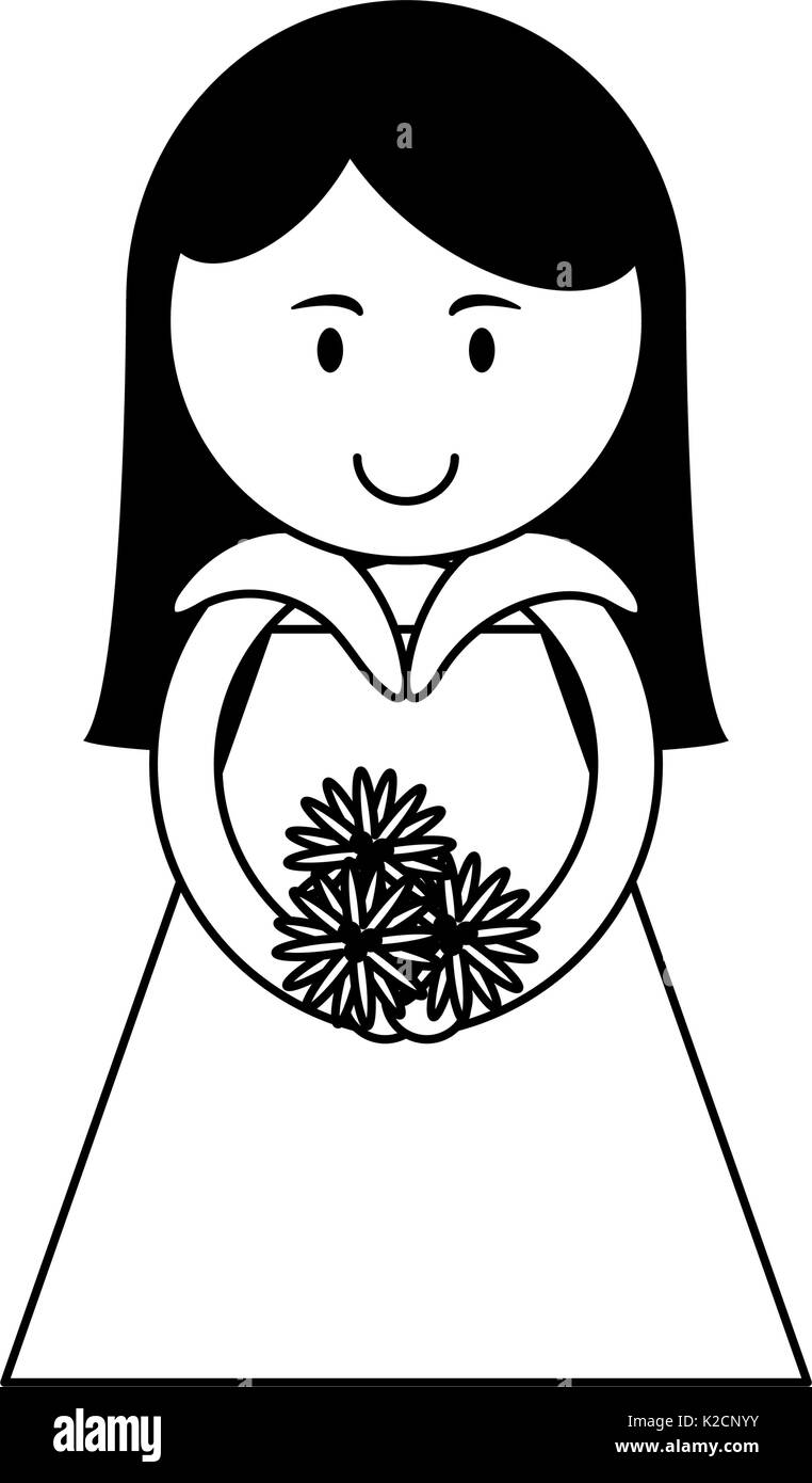cute woman holding flower bouquet cartoon icon image vector Stock ...