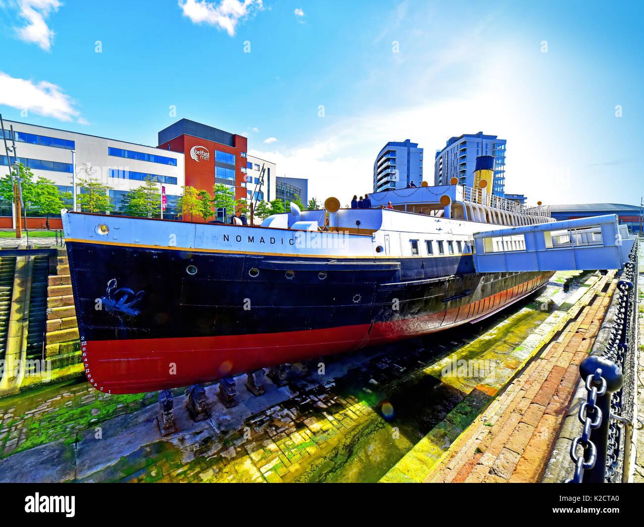 Belfast Northern Ireland Titanic Museum Hamilton dock and Nomadic - Stock Image