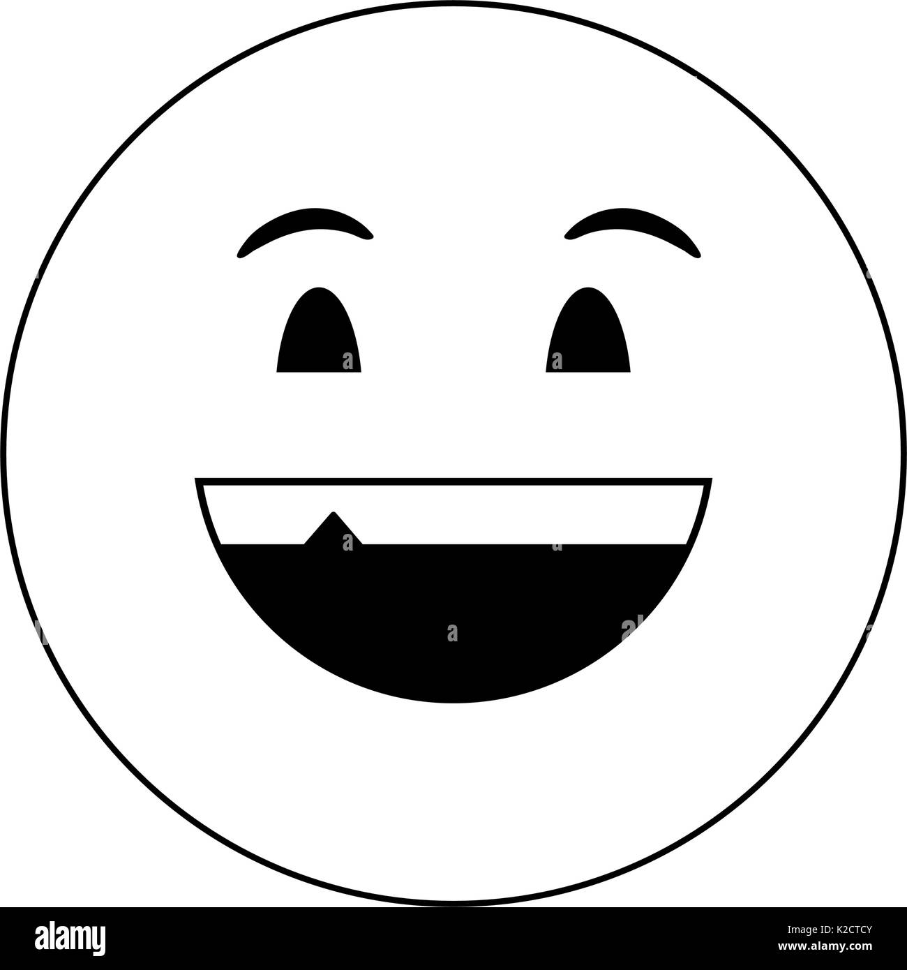 happy grin emoji instant messaging  icon image  - Stock Image
