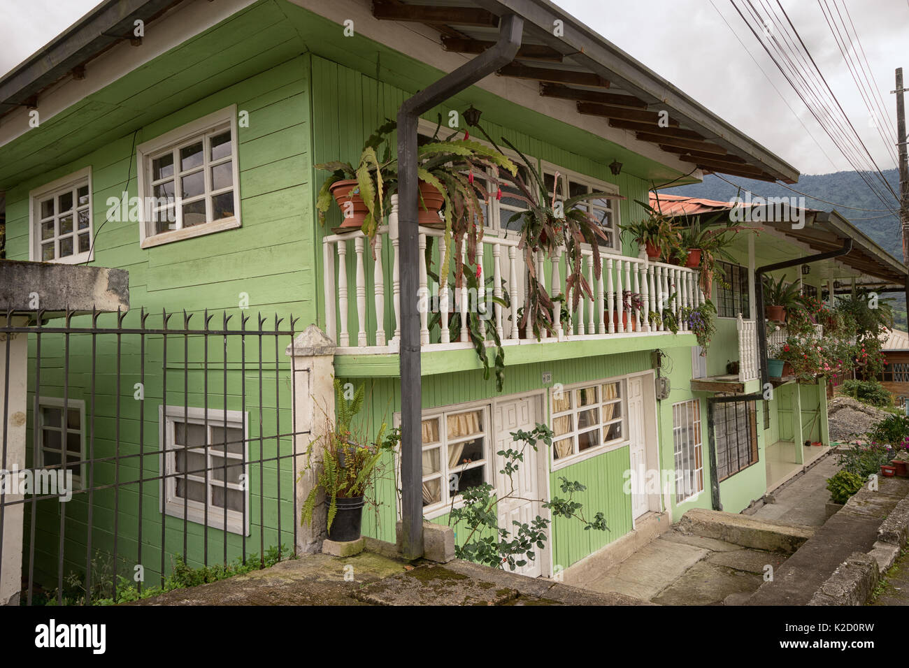 June 8, 2017 Baeza, Ecuador: the mountain town is known for its small ccolorful historic town centre with wood plank houses and as a gateway to advent - Stock Image