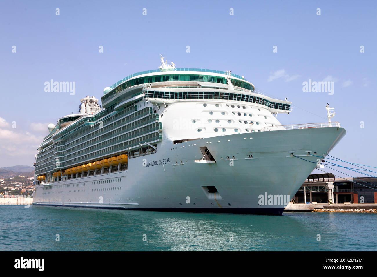Royal Caribbean Navigator of the Seas, voyager class cruise ship docked at Malaga, Spain in the Mediterranean - Stock Image
