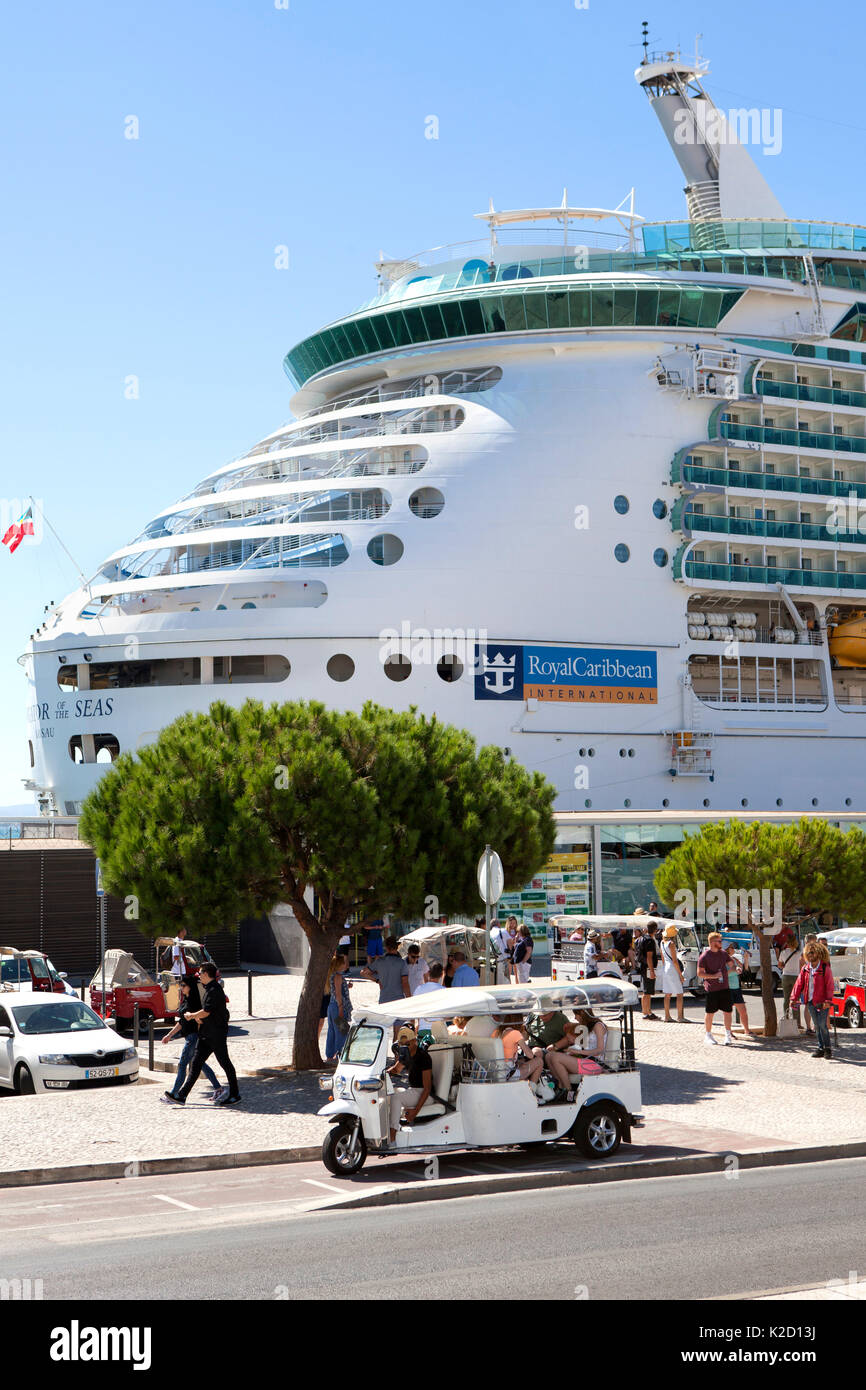Royal Caribbean Navigator of the Seas, voyager class cruise ship docked at Lisbon Portugal - Stock Image