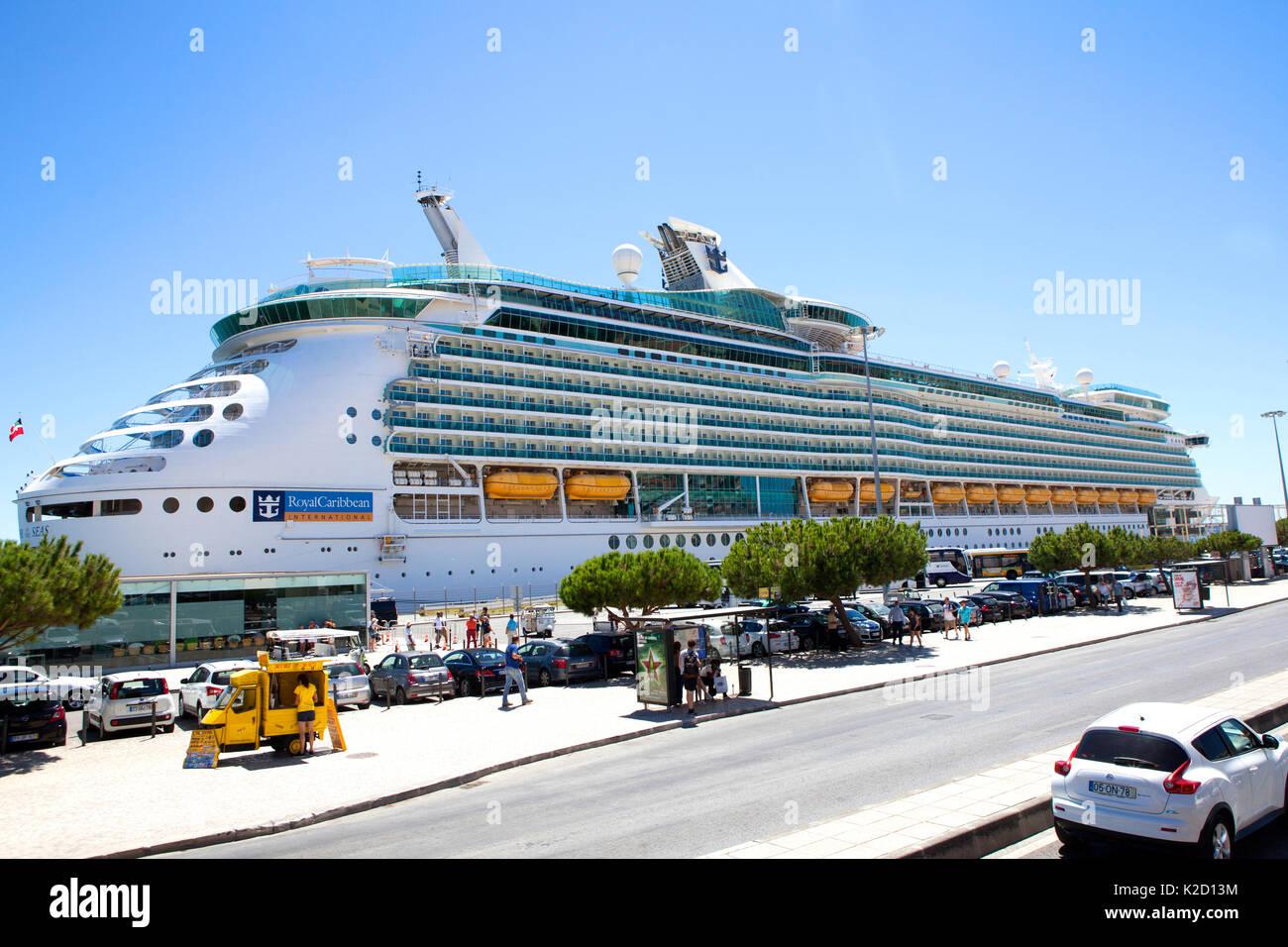 Royal Caribbean Navigator of the Seas, voyager class cruise ship docked at Lisbon Portugal Stock Photo