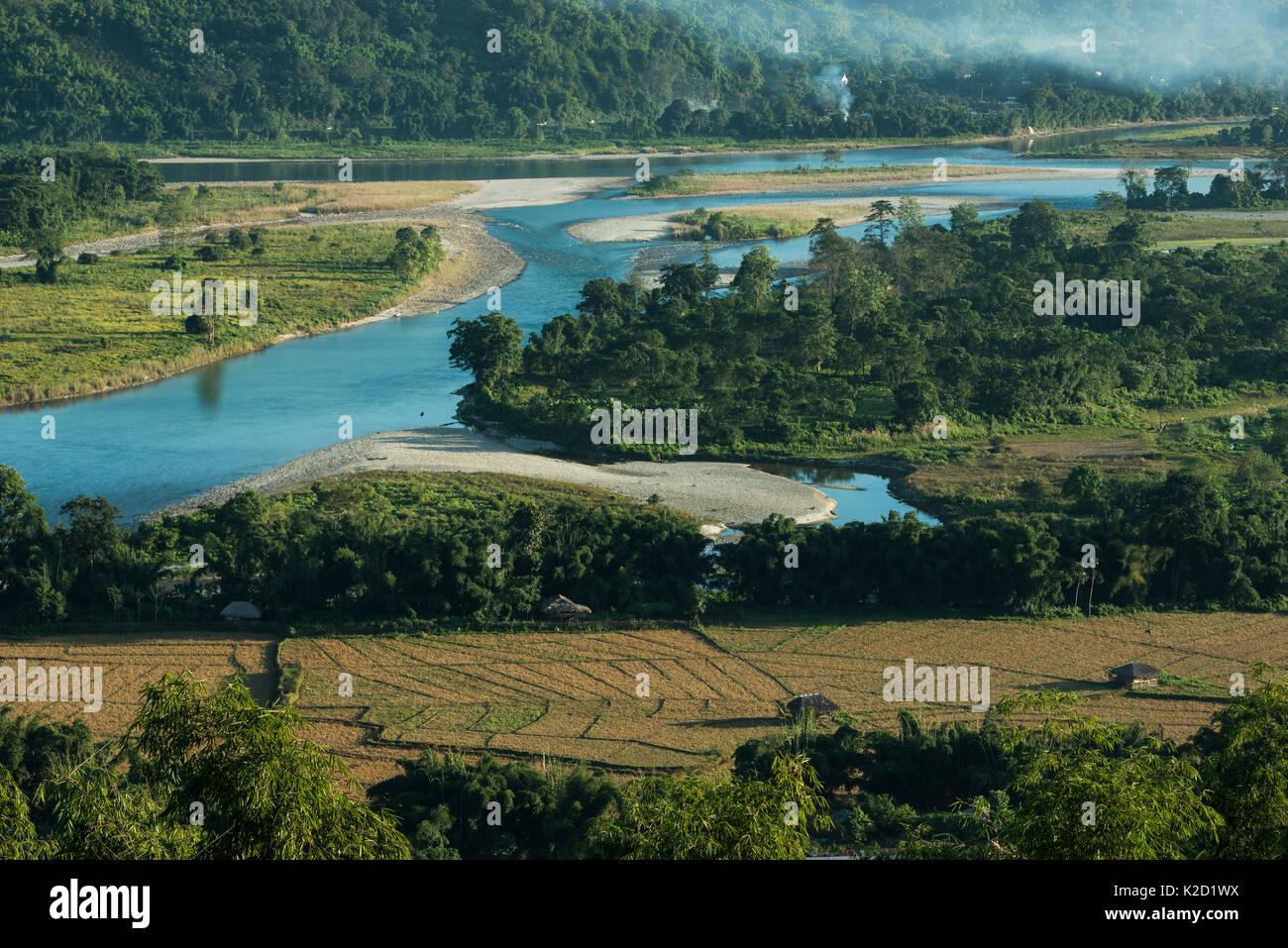 Adi Gallong rice terraces, Adi Gallong Tribe, Arunachal Pradesh, North East India, November 2014. - Stock Image