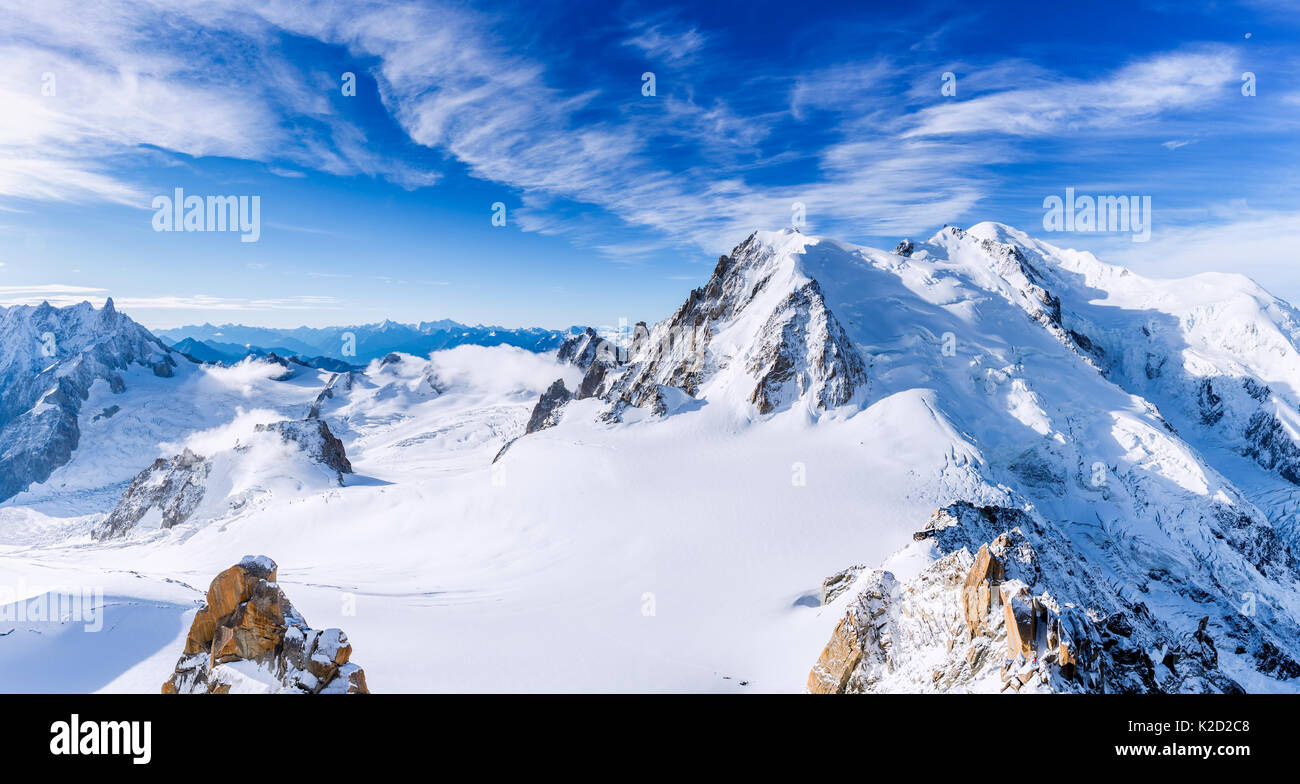 Group of climbers on the slopes Mont Blanc, Chamonix, France - Stock Image