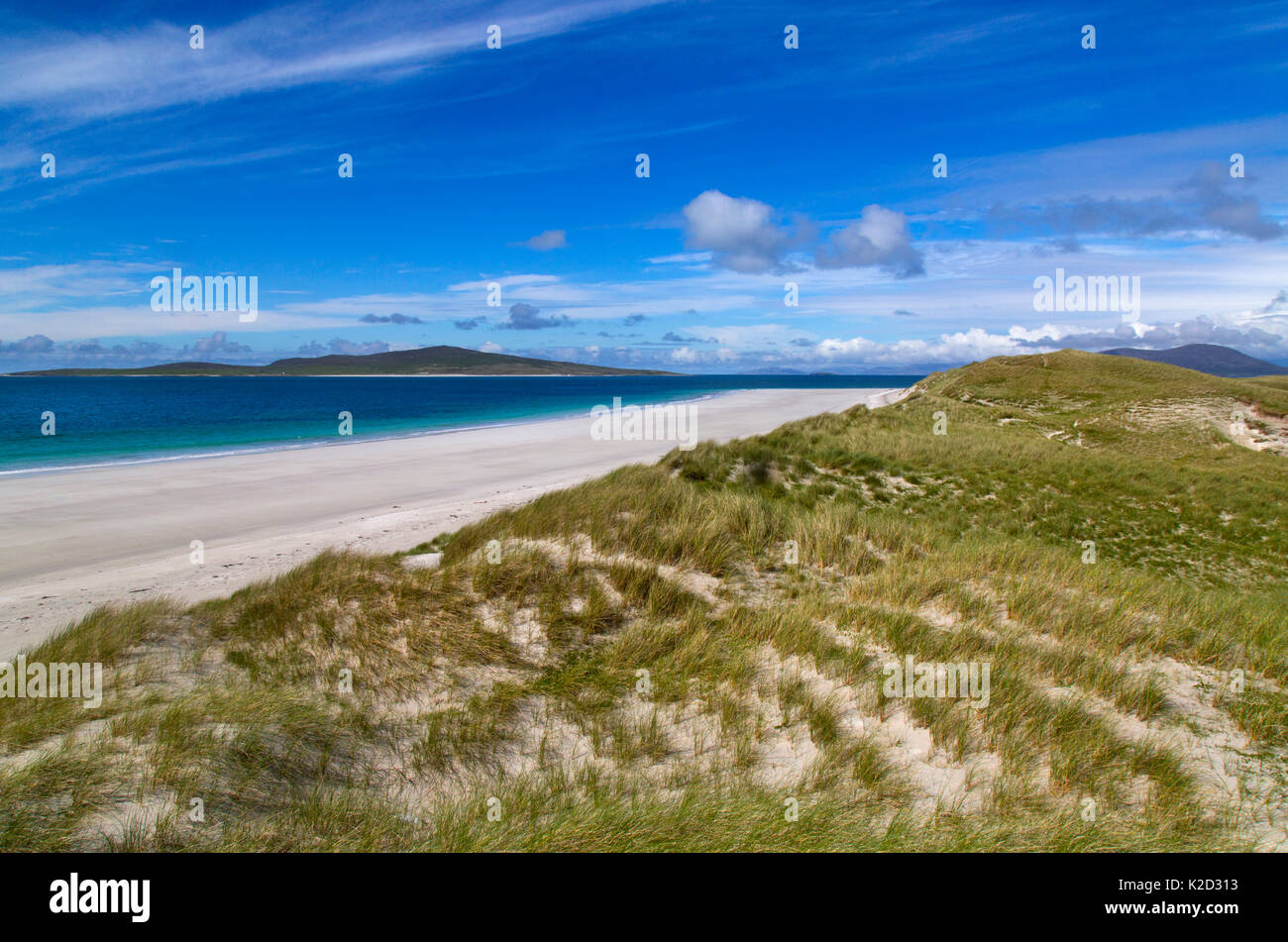 Beach and sea at Traigh Lar, North Uist, Hebrides, Scotland, UK, June. - Stock Image