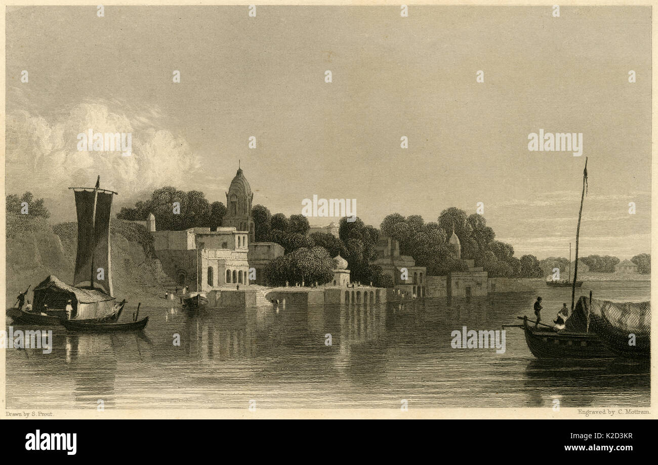 Antique c1860 engraving, View of Cawnpore from the Ganges River. Today, Kanpur is the 11th most populous city in India. SOURCE: ORIGINAL STEEL ENGRAVING. - Stock Image