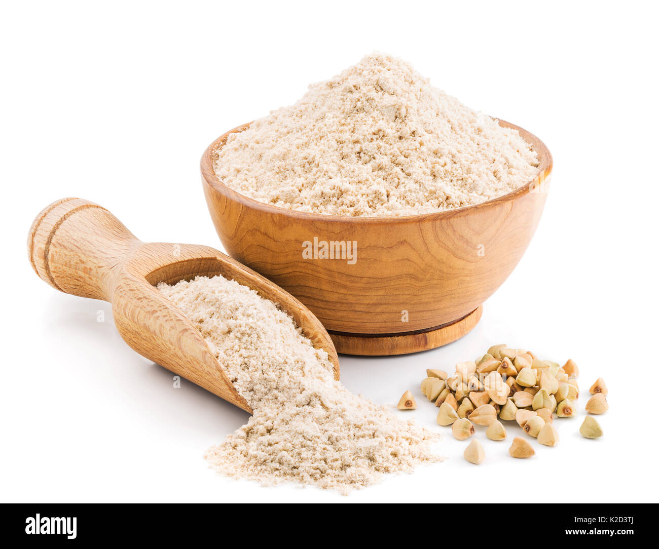 Whole grain buckwheat flour isolated on white Stock Photo