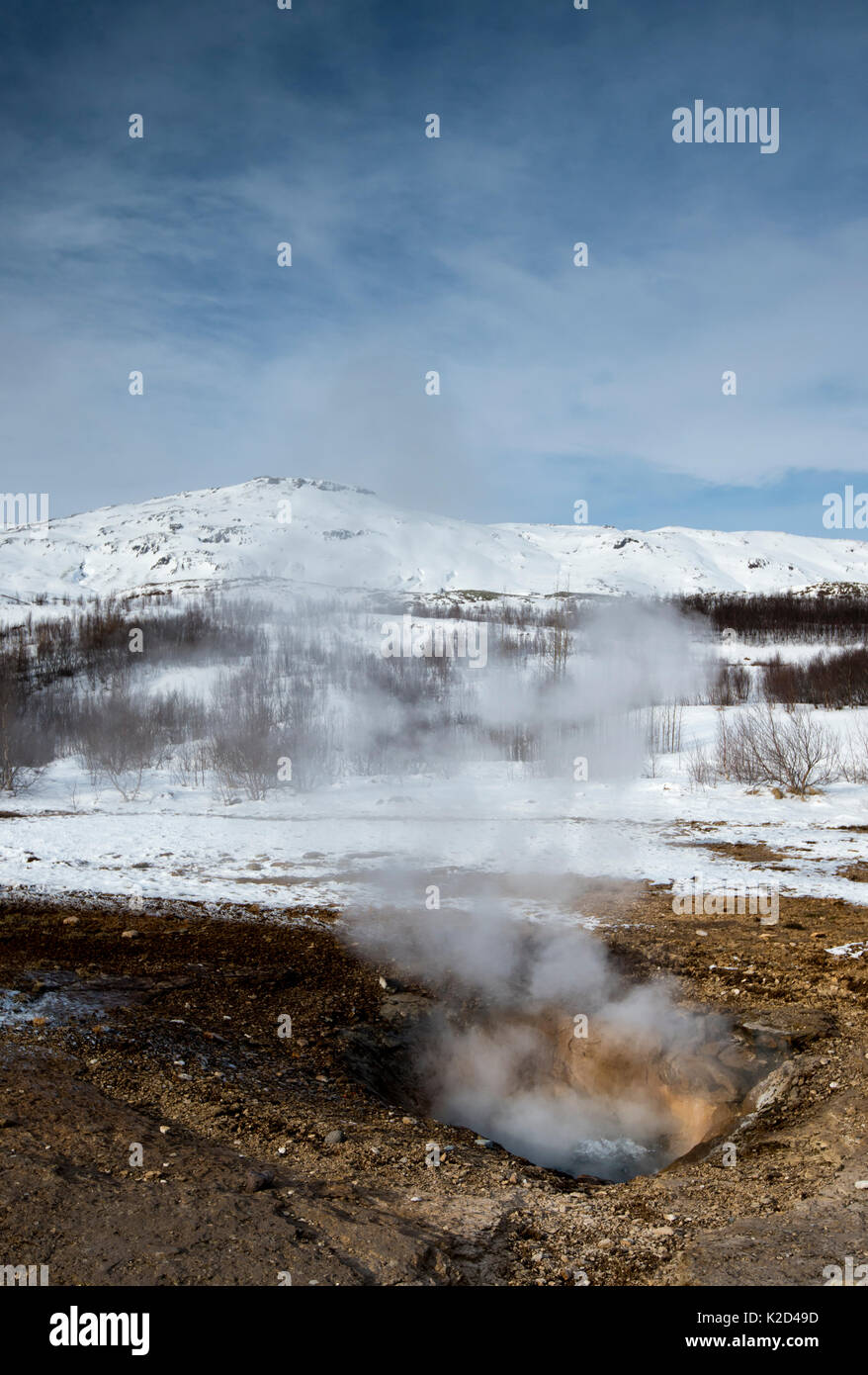Small geothermal vent at the Geysir Hot Spring Area, South West Iceland, March 2015. - Stock Image