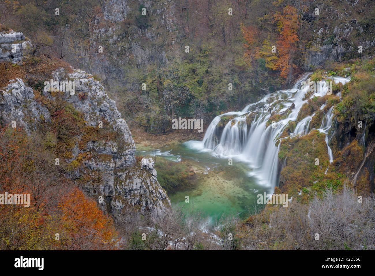 Series of waterfalls known as 'Sastavci' that cascade between mountain lakes, Plitvice Lakes National Park, Croatia. November. - Stock Image