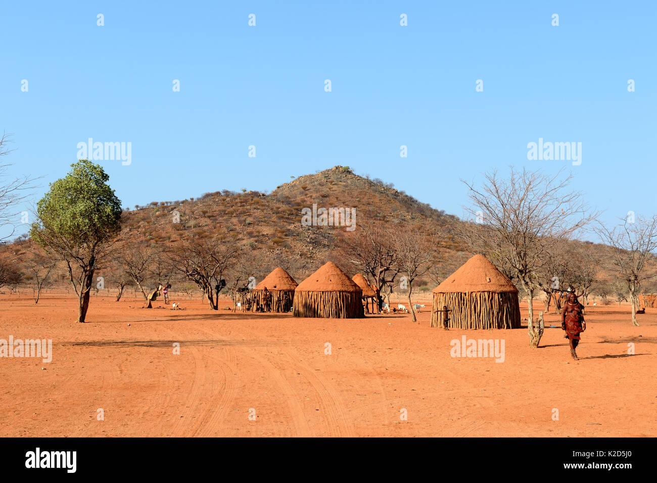 Traditional Himba village near Epupa. Kunene region. Kaokoland, Namibia. October 2015 Stock Photo