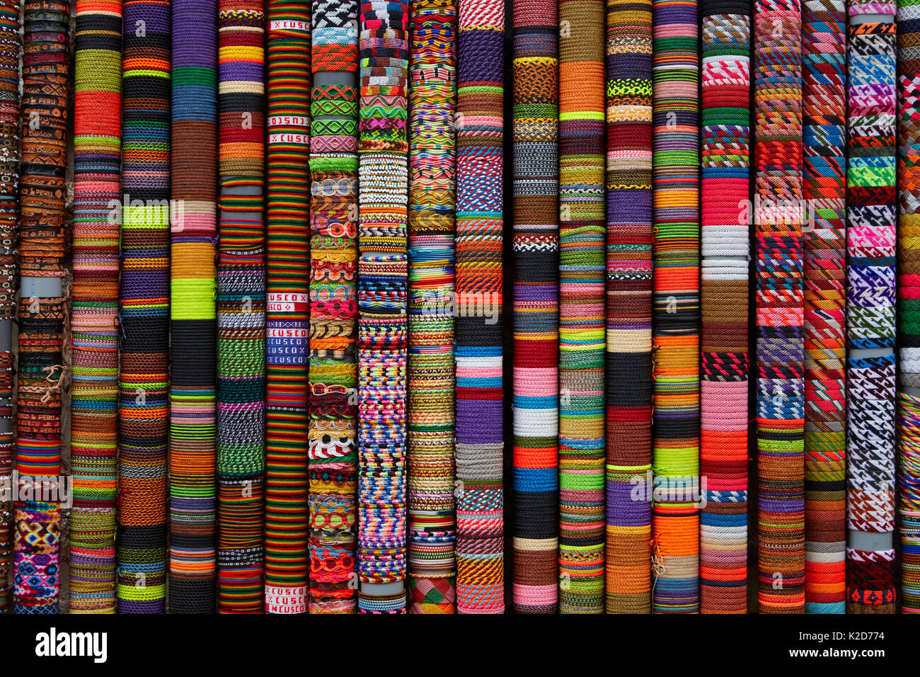 Bracelets at handcraft shop, Cusco, Peru, South America - Stock Image