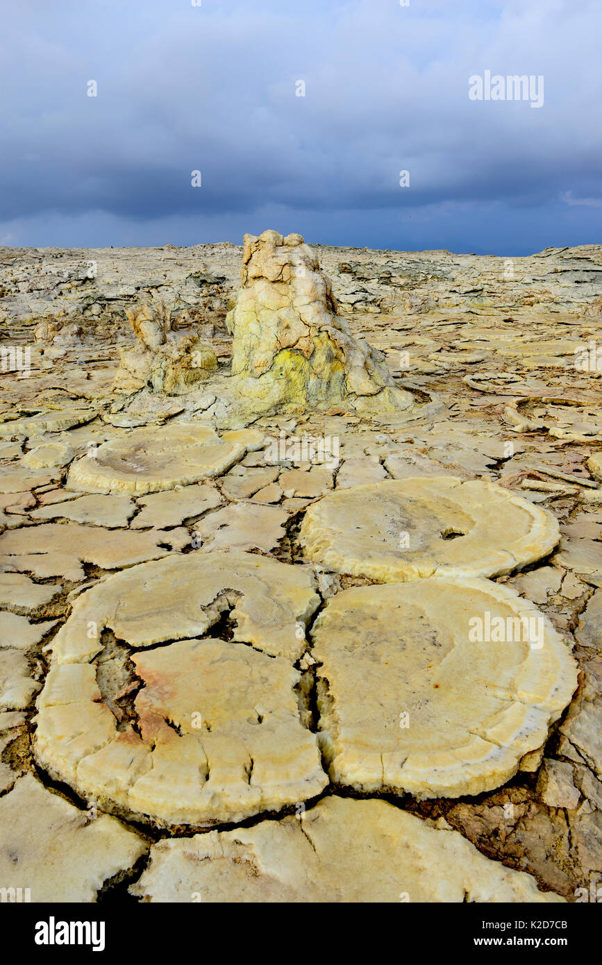 Formations caused by wind erosion, salt deposits, water and sulfurous vapors in Dallol area, Lake Assale. Danakil Depression, Afar Region, Ethiopia, Africa. November 2014. - Stock Image