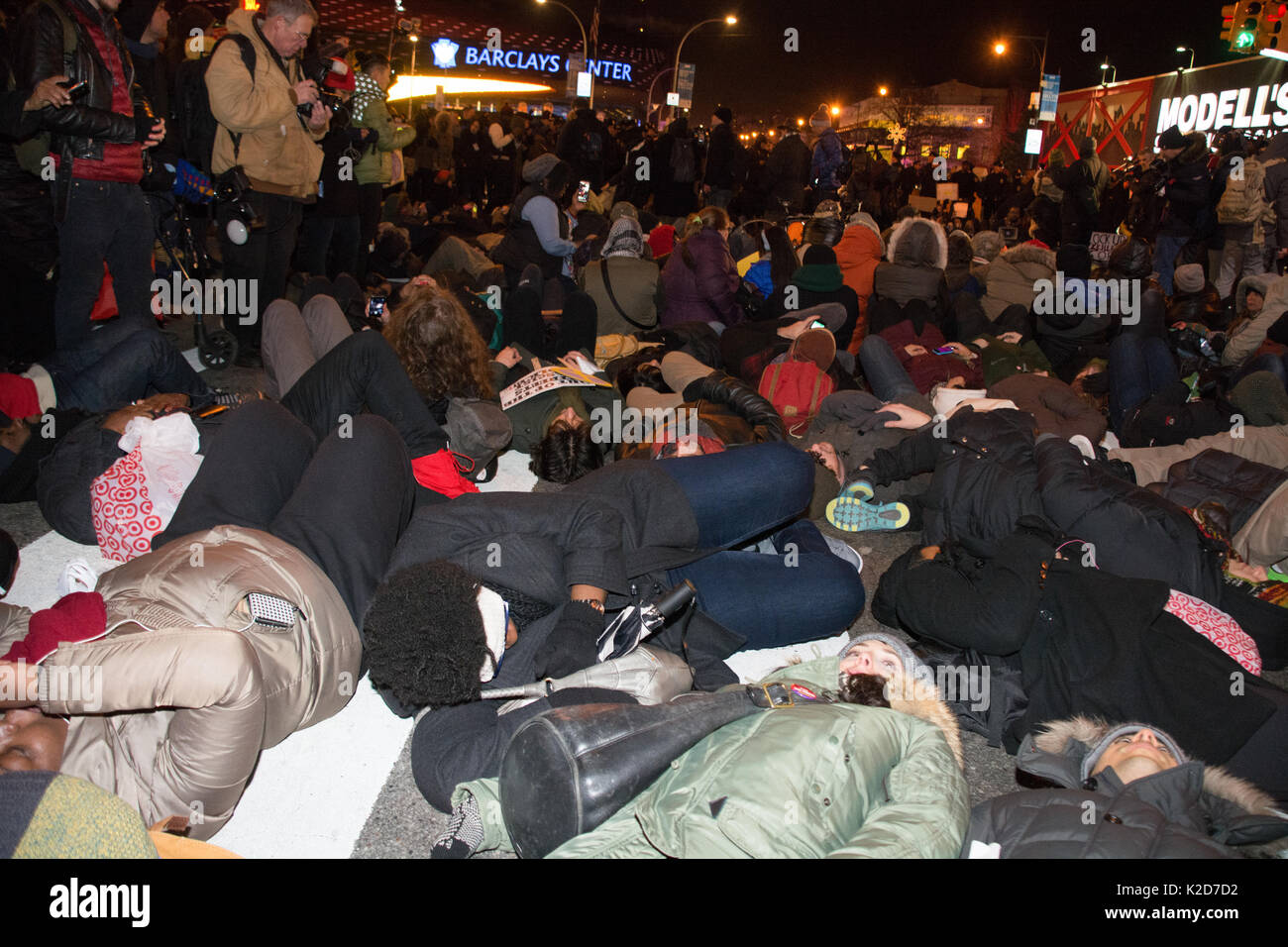 Black Lives Matter activists enact a die-in at Barclays Center protesting grand jury's non-indictment in Eric Garner Stock Photo