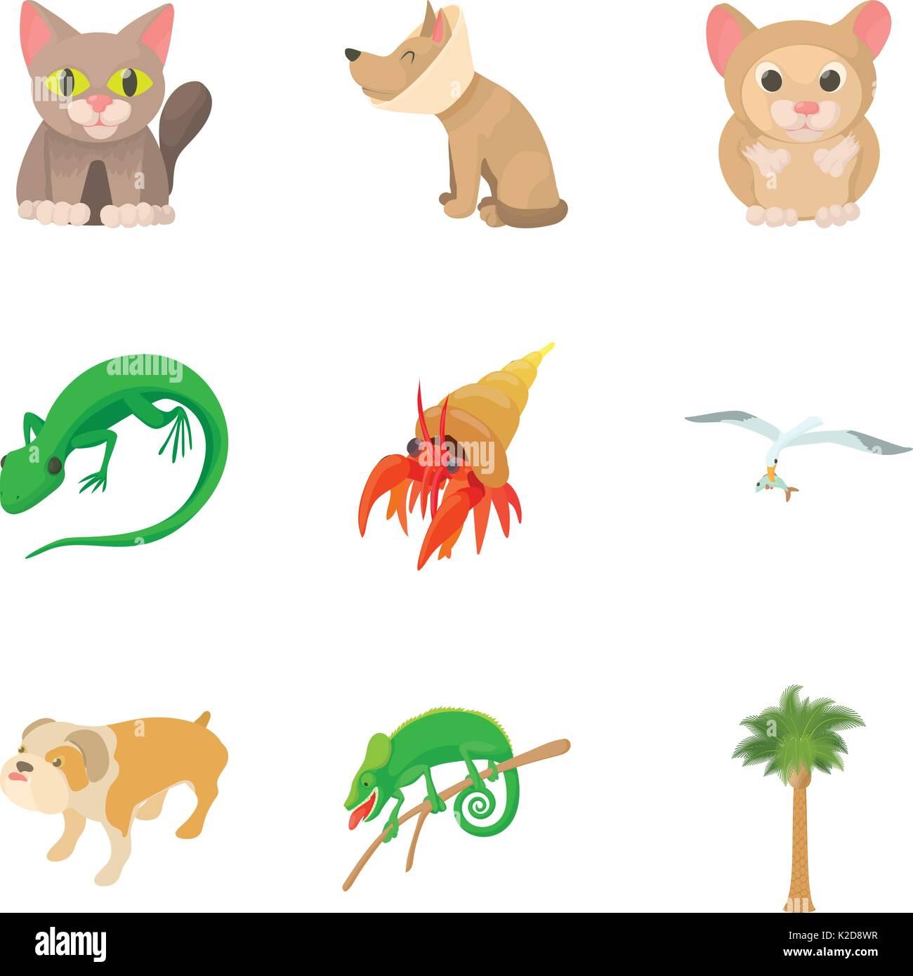 Small animal icons set, cartoon style - Stock Image