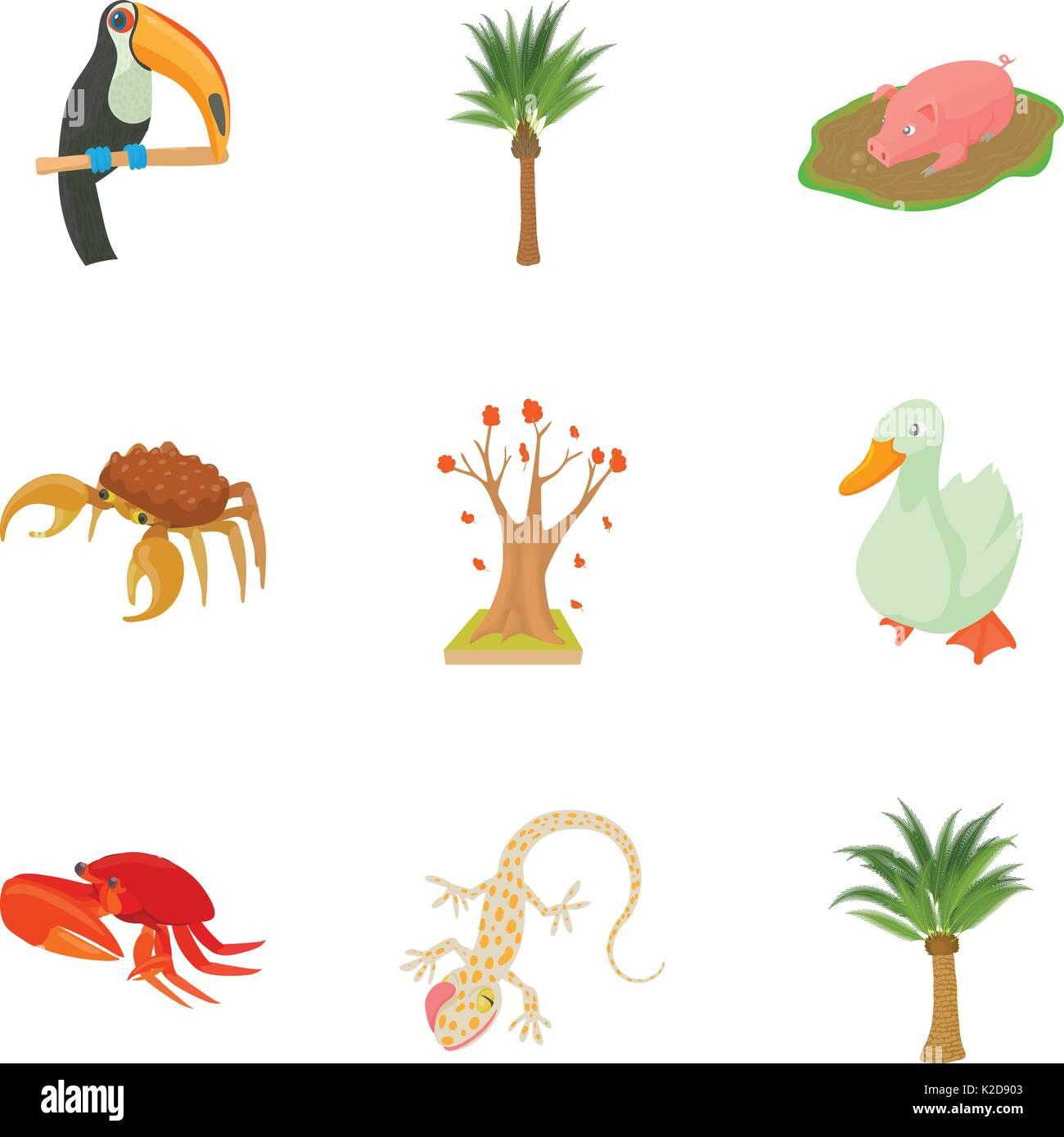 Avifauna icons set, cartoon style - Stock Image