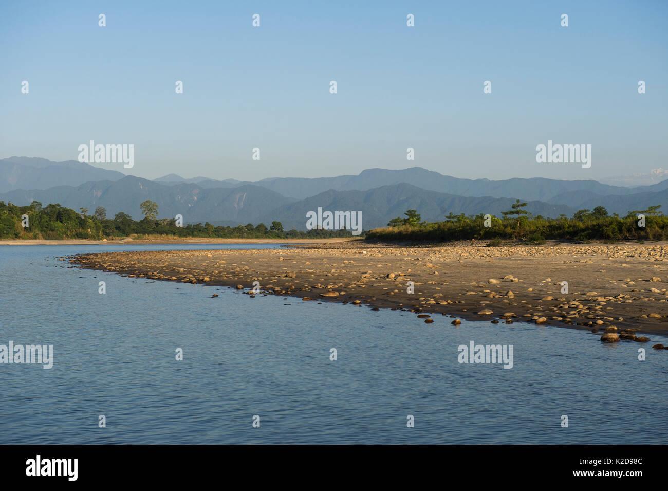 Landscape of the Jai Bhoralli River, Nameri Wildlife Reserve, Assam, North East India November 2014. - Stock Image
