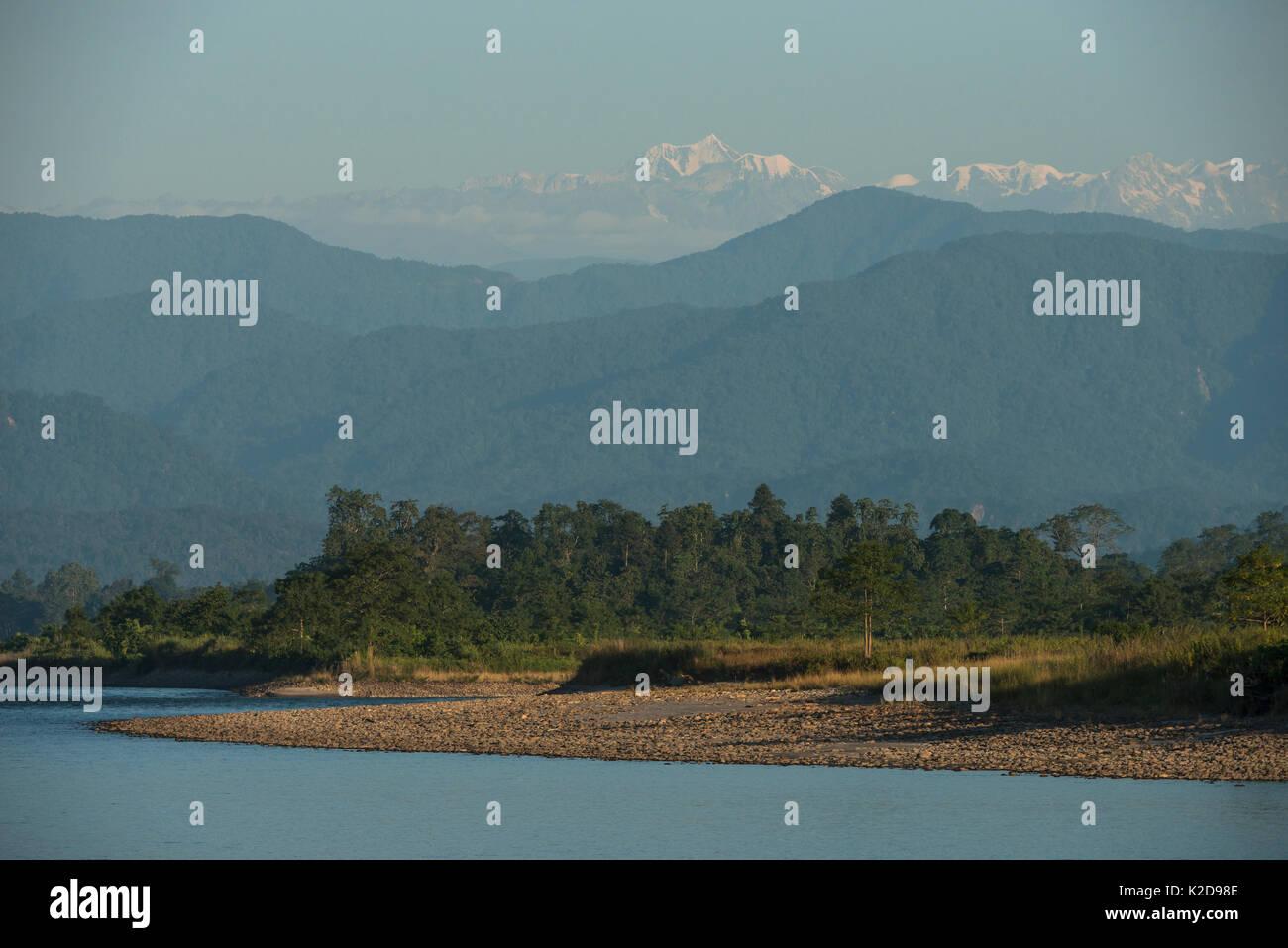 Landscape of Jai Bhoralli River and Mount Gorichand, Nameri Wildlife Reserve, Assam, North East India. November 2014. - Stock Image