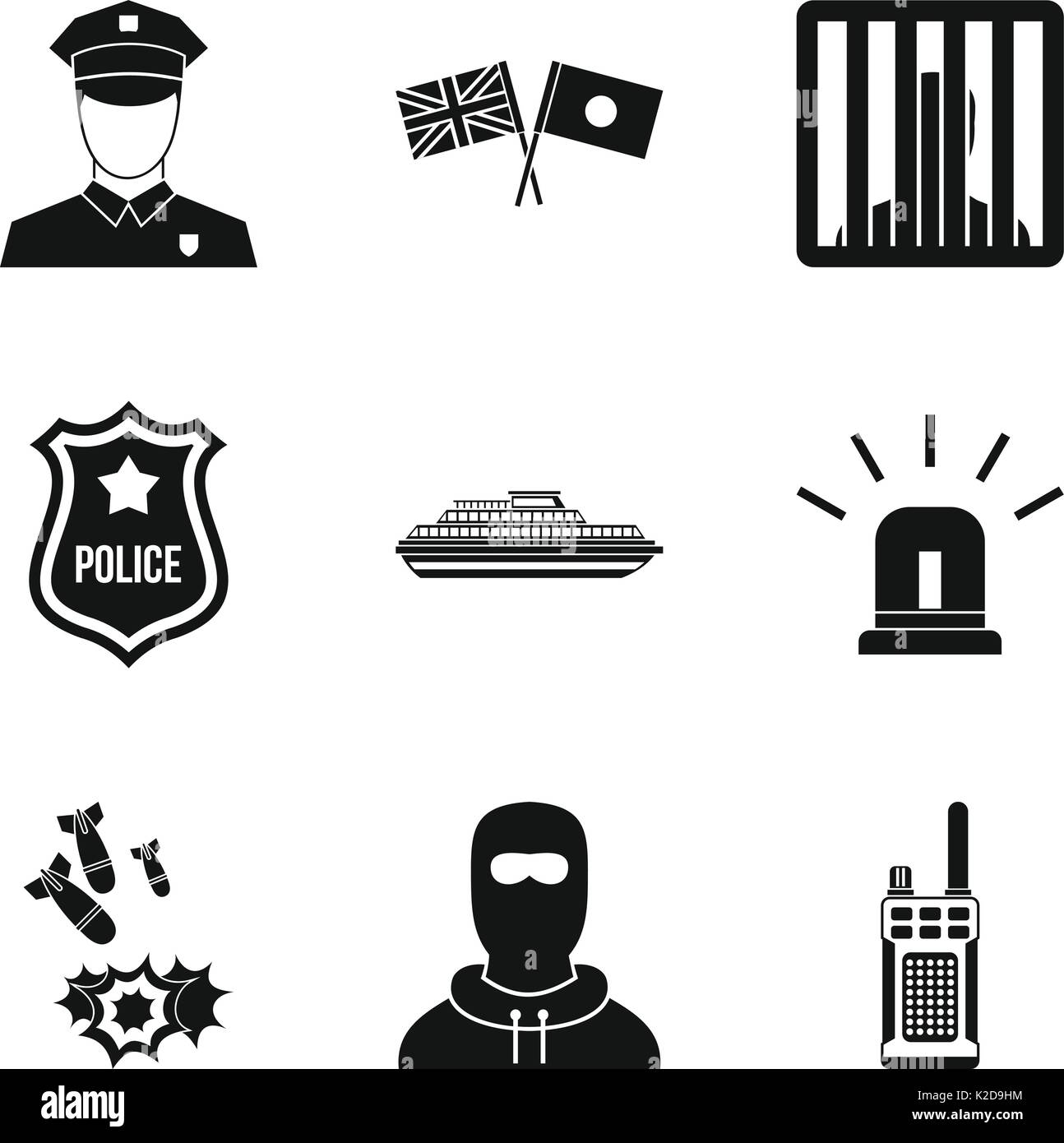 Security service icons set, simple style - Stock Image