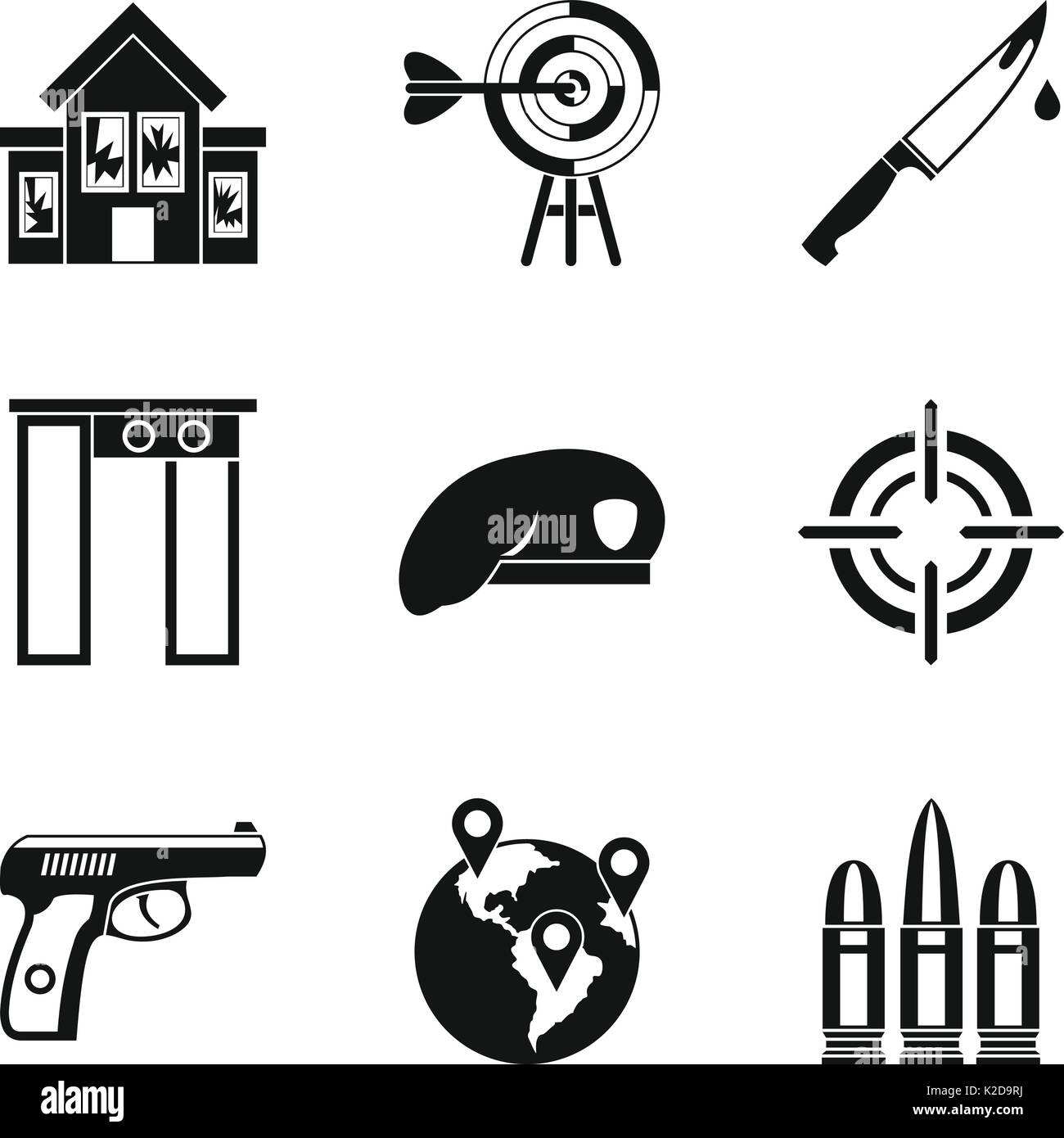 Mobster icons set, simple style - Stock Image