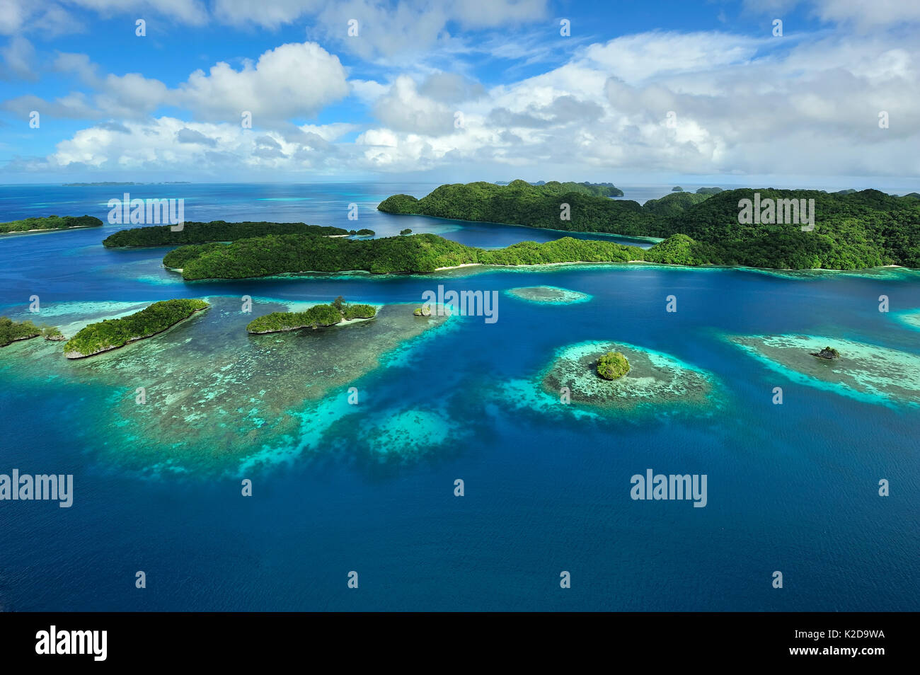 Aerial view of Palau and associated tropical islands, Philippine Sea Stock Photo