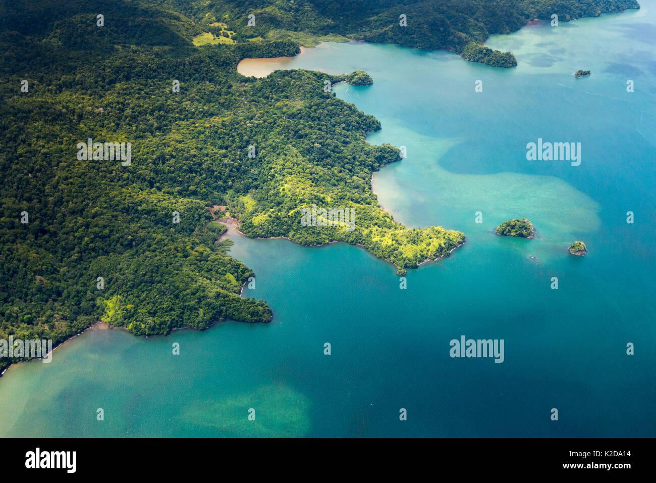 Aerial view of the Osa Peninsula coastline, Costa Rica. - Stock Image