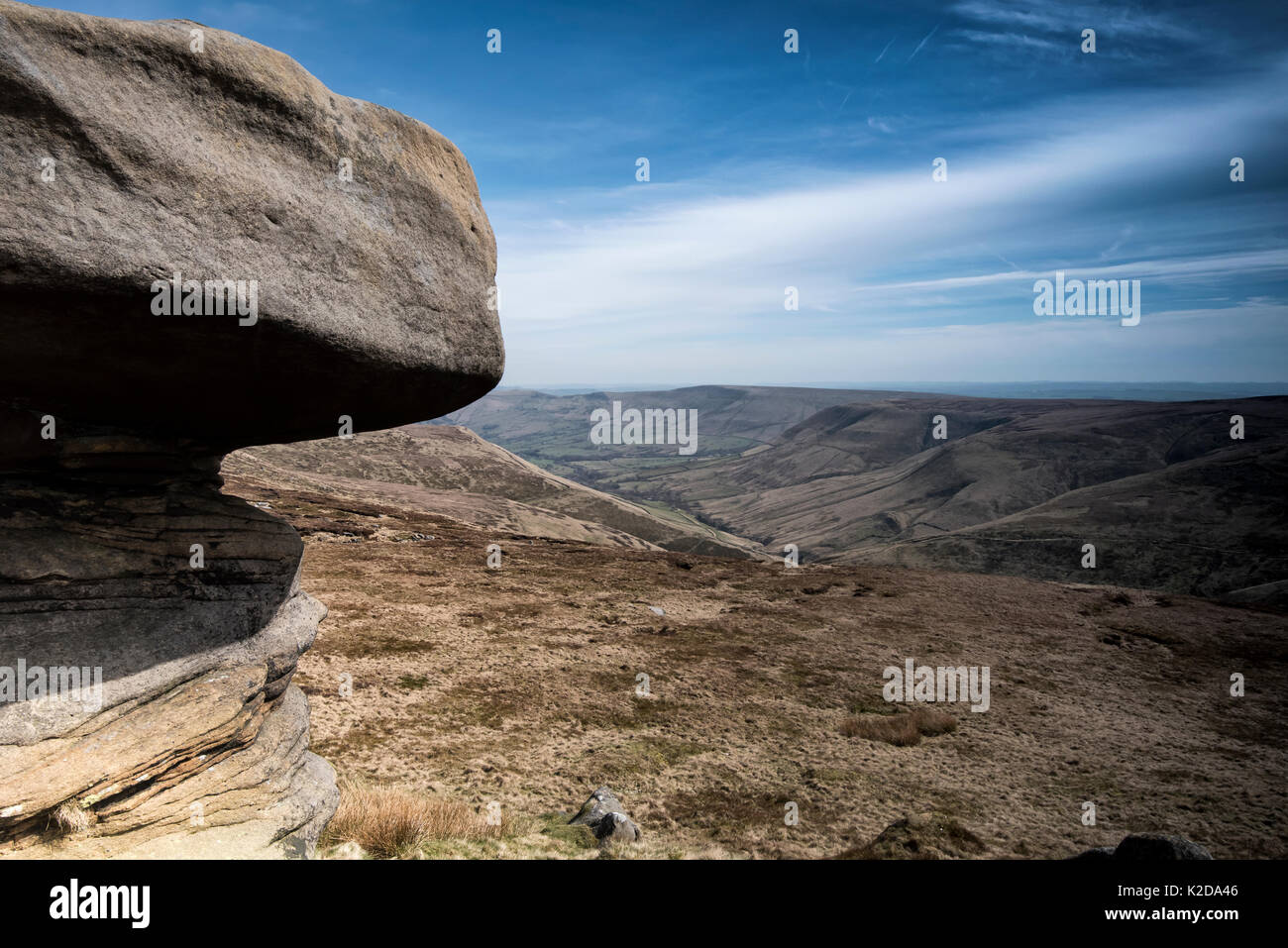 Rock formations in carboniferous / millstone grit, Kinder Scout, Edale, Derbyshire UK November - Stock Image