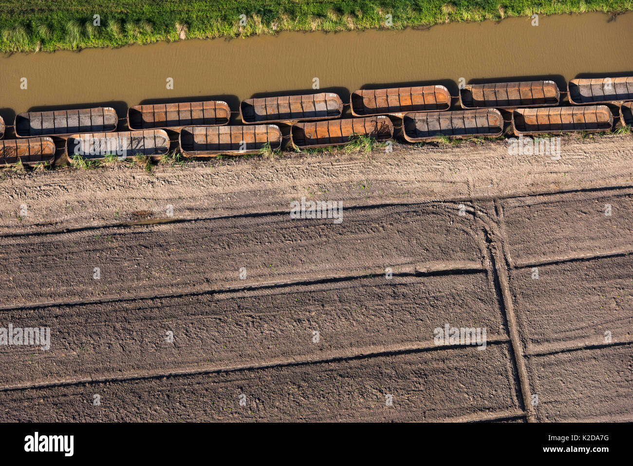Aerial view of sugarcane barges (punts) East Guyana, South America - Stock Image