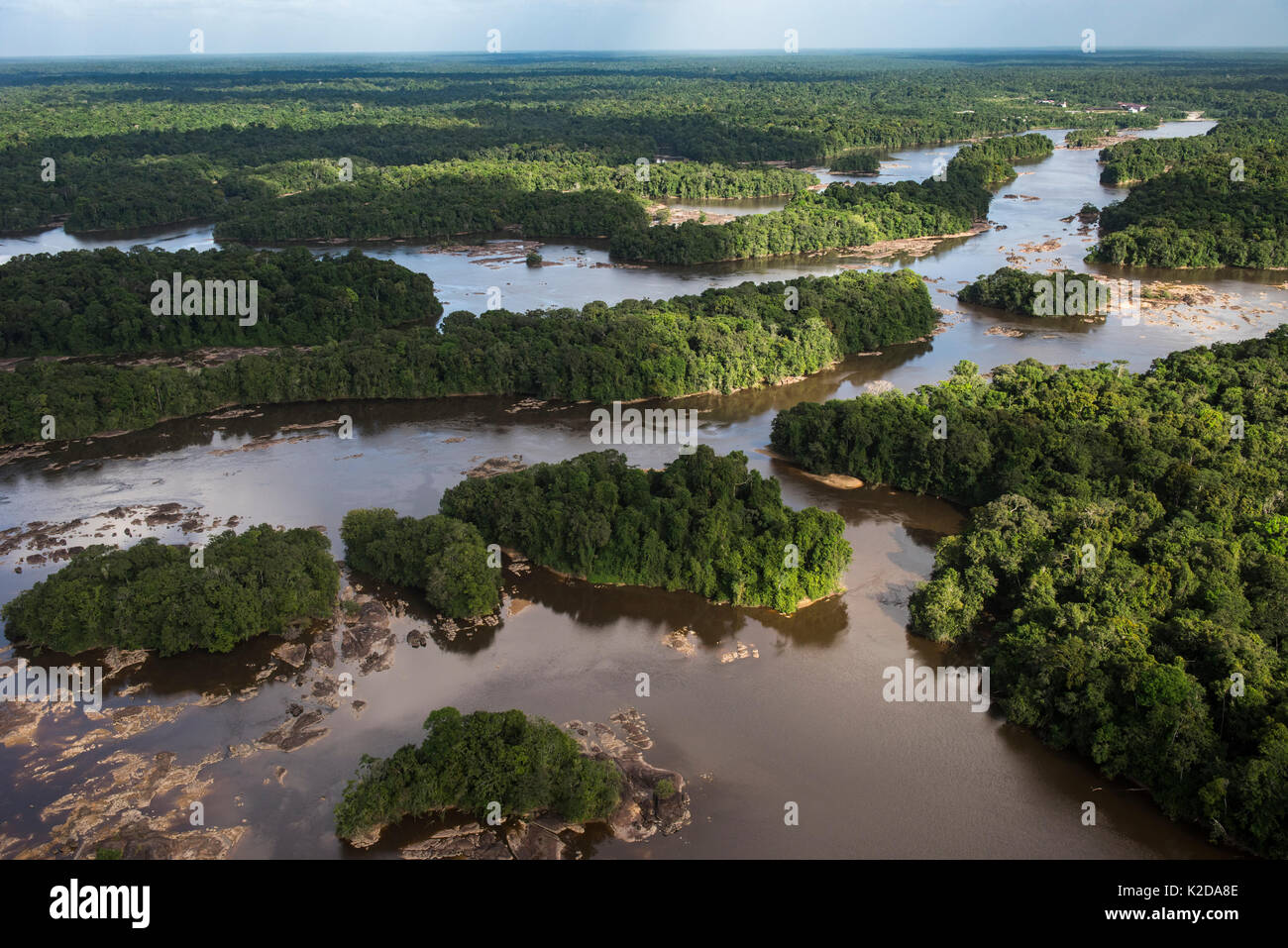 Aerial view of Essequibo river, Guyana, South America Stock Photo