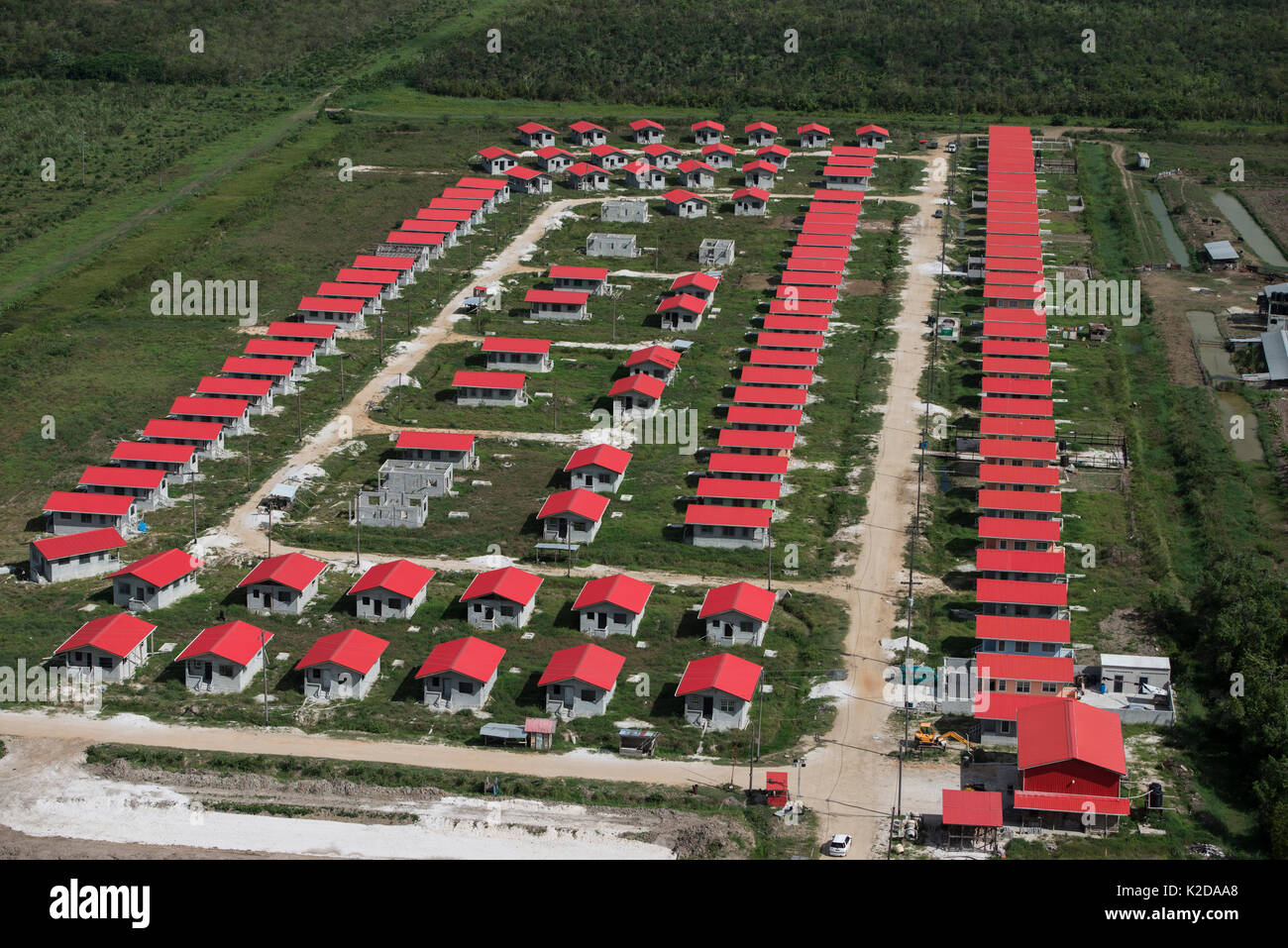 Aerial view of housing project near Georgetown, Guyana South America Stock Photo