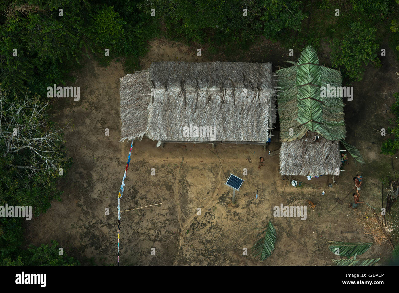 Aerial of Amerindian traditional house, North west Guyana South America - Stock Image