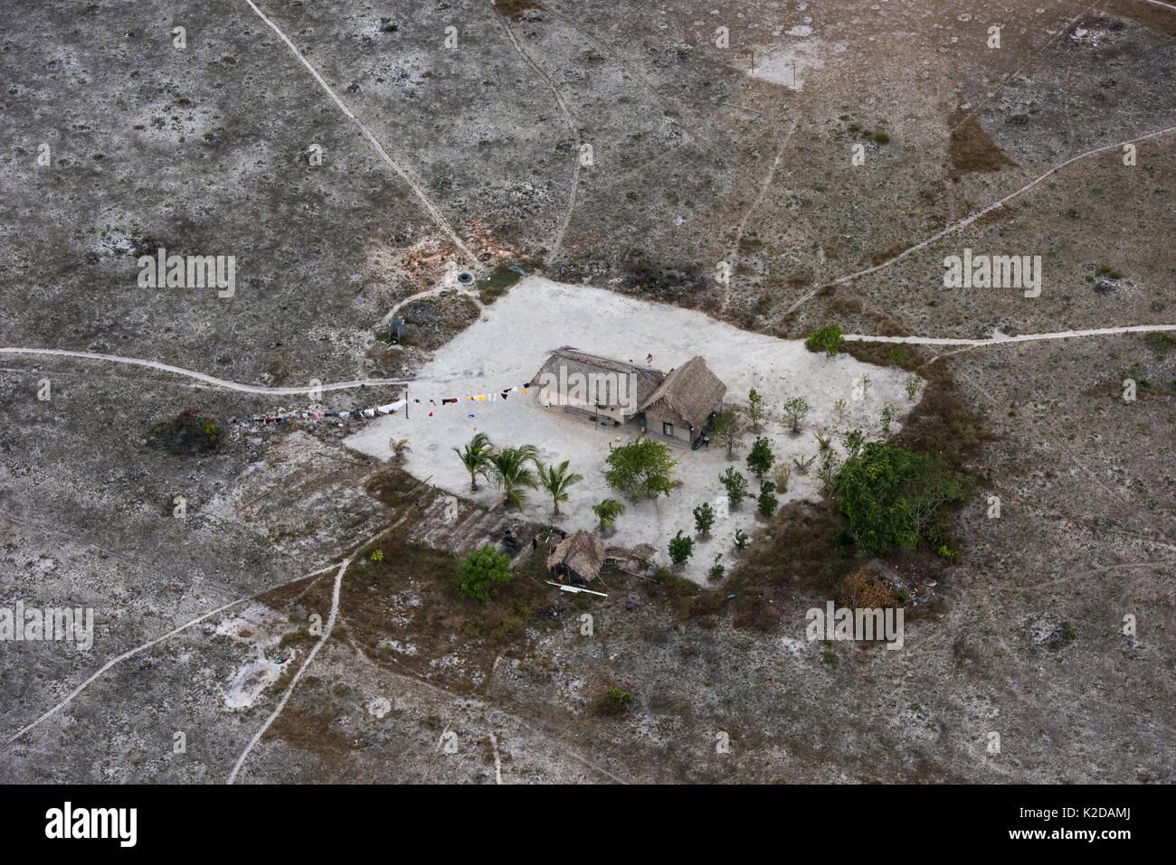 Aerial view of Amerindian House, Savanna  Rupununi, Guyana, South America - Stock Image