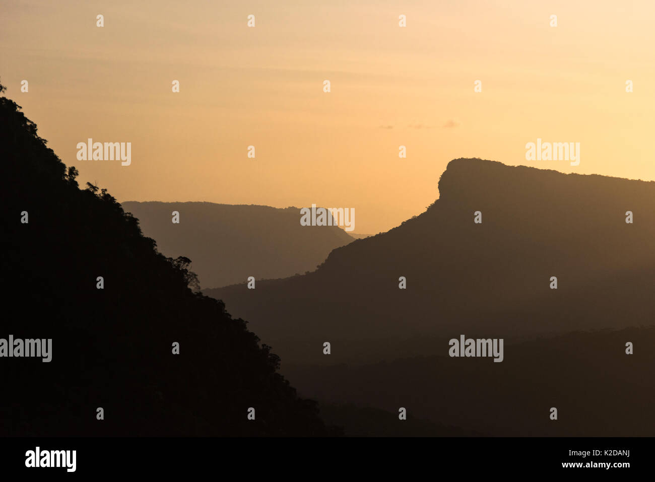 Pakaraima Mountains at sunset, Guyana, South America - Stock Image