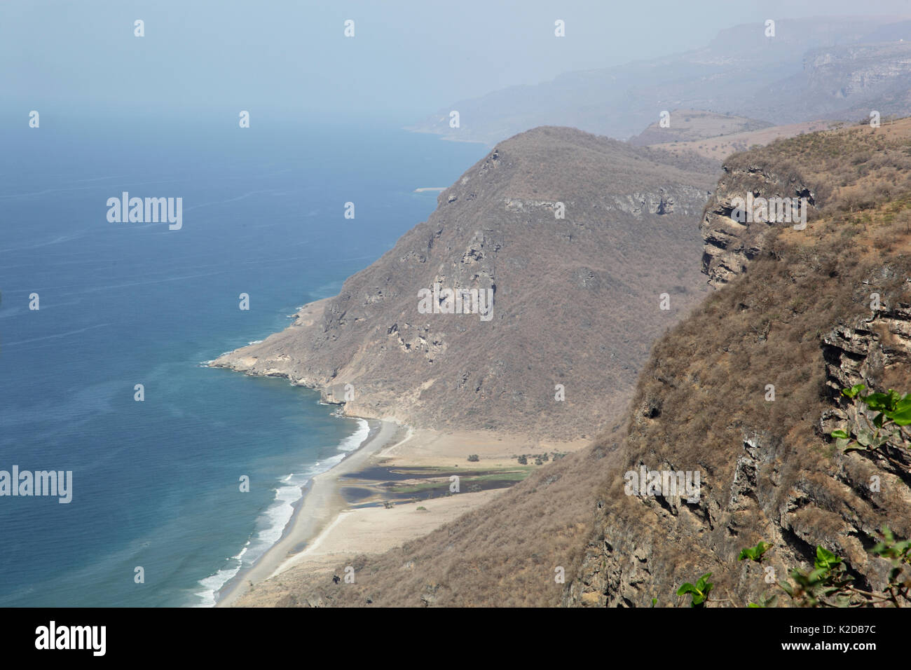 Khawr Kharfot, a remote lagoon that can only be reached on foot, Oman, May - Stock Image