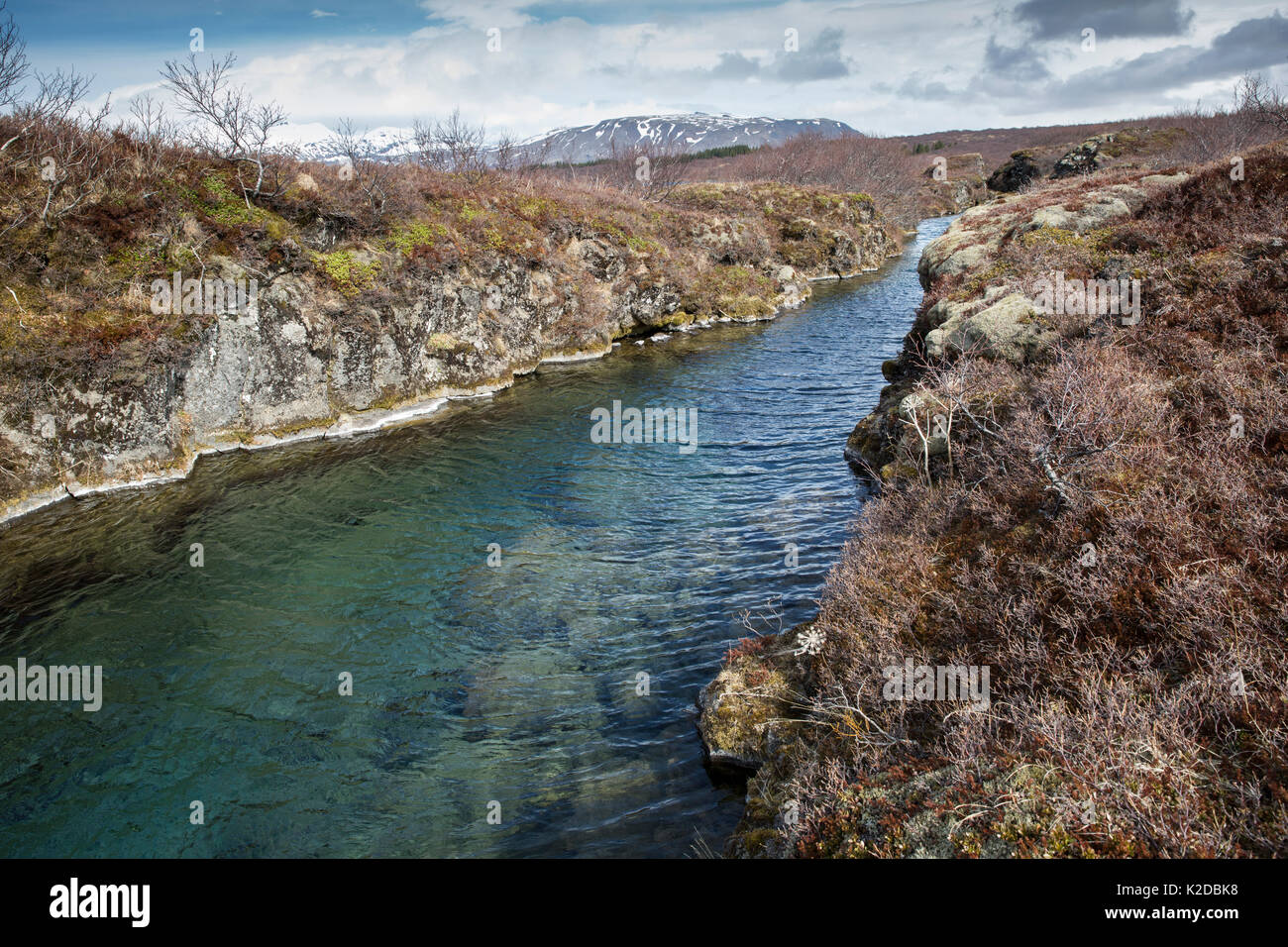 View of Davíosgja fissure located in Lake Thingvellir, a favourite among local divers but not as famous as Silfra, Thingvellir National Park, Iceland. - Stock Image
