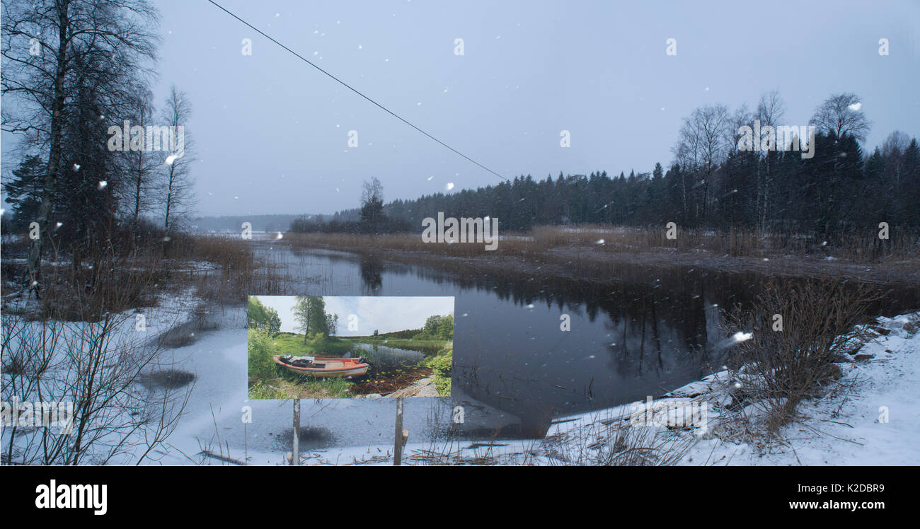 Landscape through changing seasons - photograph by Pal Hermansen 'The passage of time' of the same scene in summer,   Valer, Ostfold County, Norway. January 2015. - Stock Image