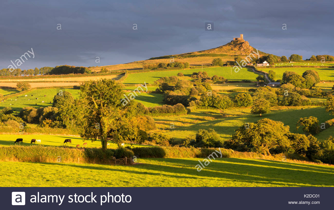 Distant Brentor Church in Dartmoor countryside, Devon, England, UK. August 2015. - Stock Image