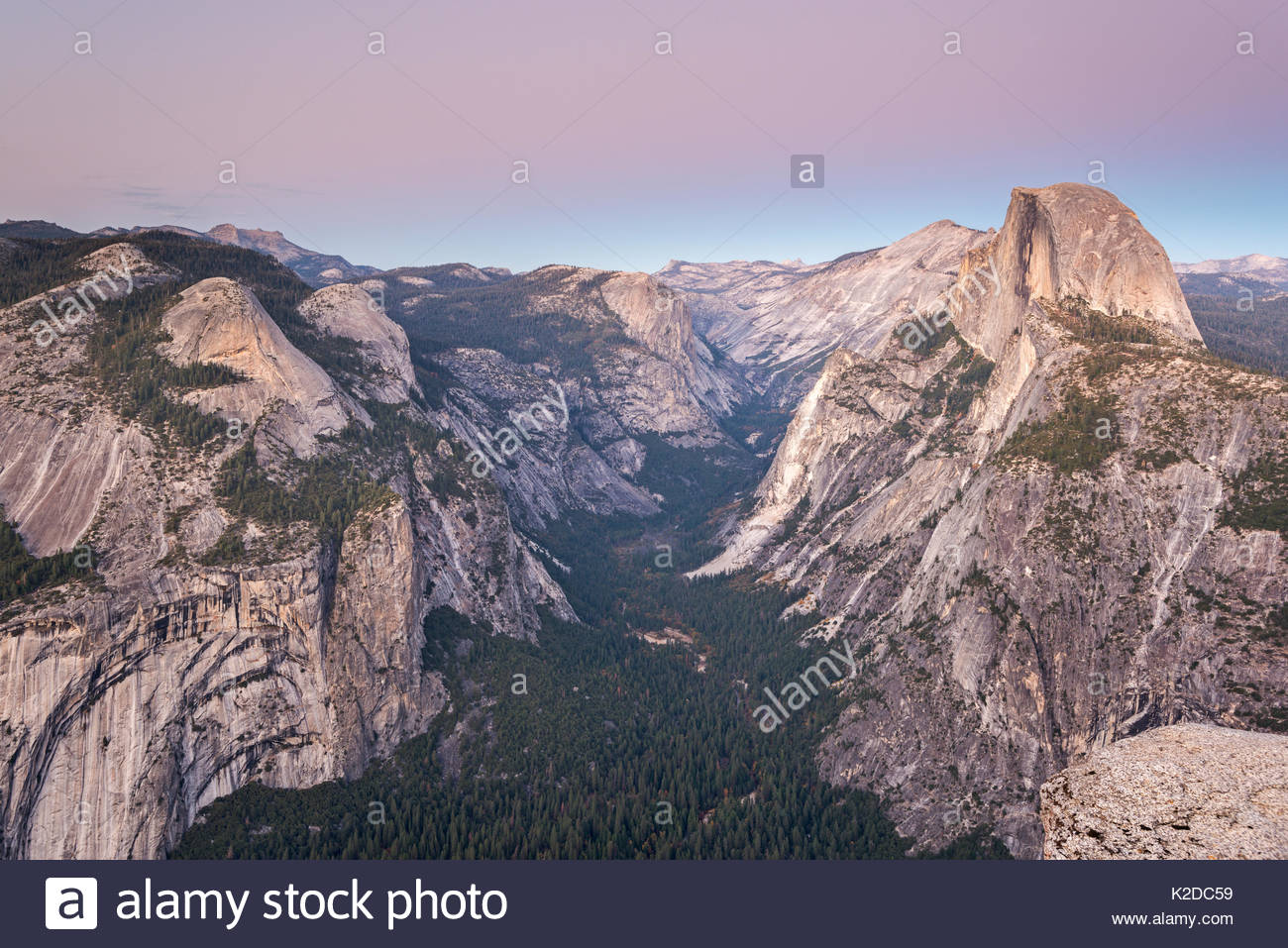 Half Dome and Yosemite Valley from Glacier Point, California, USA. October 2013. Stock Photo