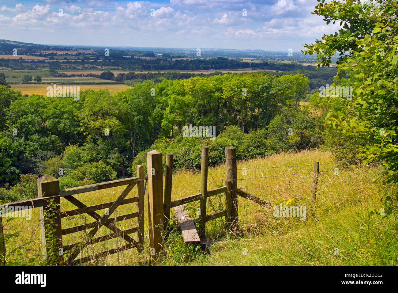 Stile and footpath, Aldbury Nowers Nature Reserve, the Chilterns, Hertfordshire, UK, July 2016, Stock Photo