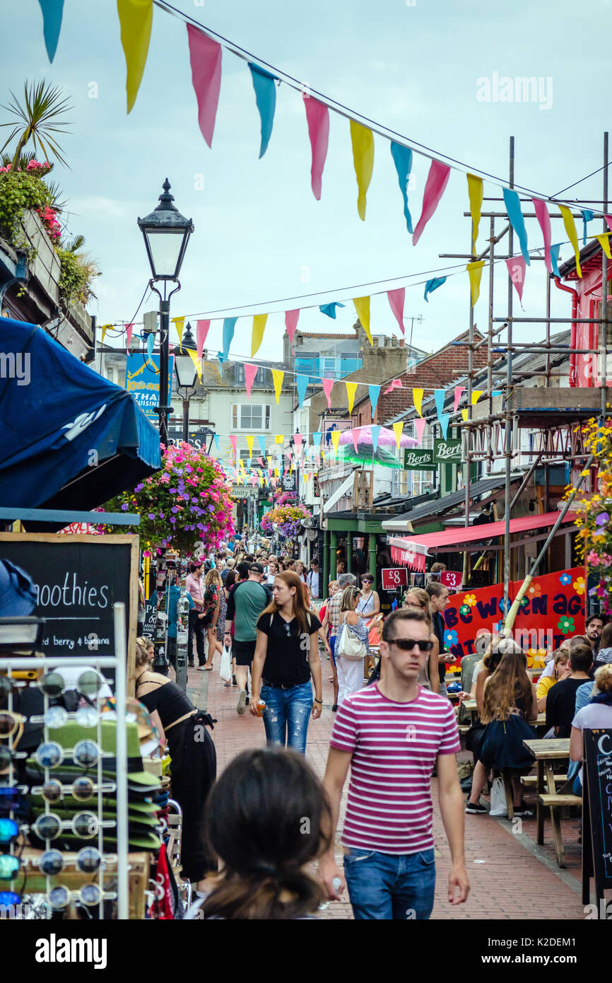 Kensington Gardens Road, North Laine, shops and cafes, Brighton, West Sussex, UK, Aug 2017 - Stock Image