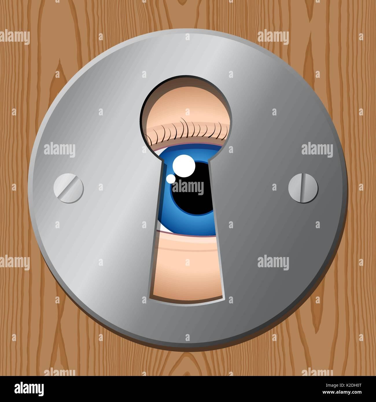 Eye looks through keyhole – peeping tom spy illustration - Stock Vector