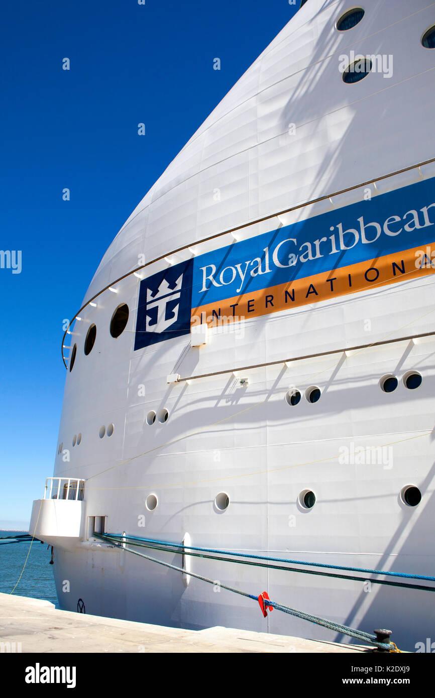 Royal Caribbean Navigator of the Seas, voyager class cruise ship docked at Lisbon Portugal - Stock Image